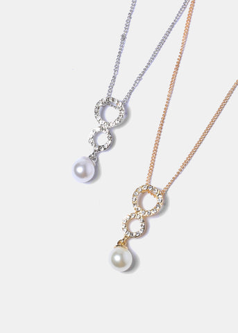 Rhinestone Circle & Pearl Pendant Necklace