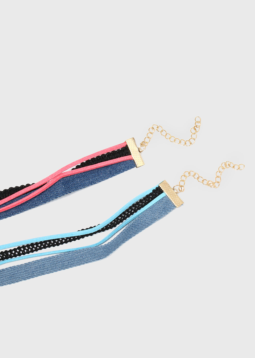 Layered Denim & Suede Gem Choker