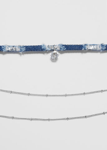 Denim & Chain Gemstone Choker