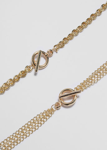 Layered Chain Toggle Necklace