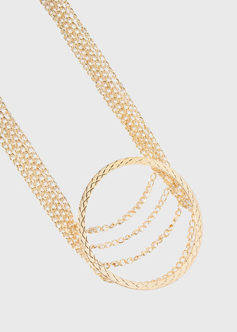 Layered Chain Metal Ring Necklace