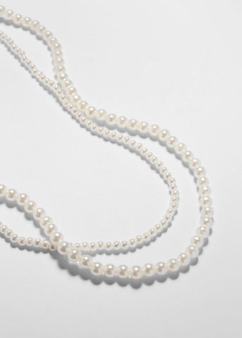 Double Strand White Pearl Necklace