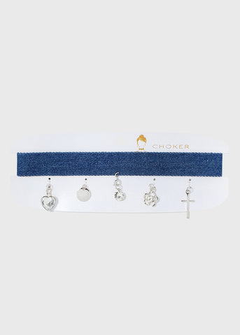 Denim Choker & Charm Set