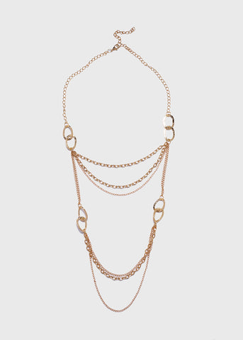 Layered Hammered Chain Link Necklace