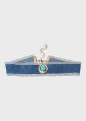Tear Drop Stone Denim Choker