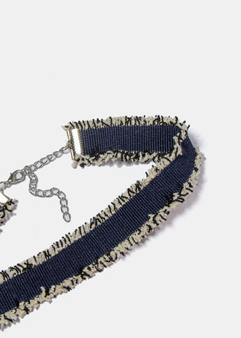 Frayed Edge Denim Choker