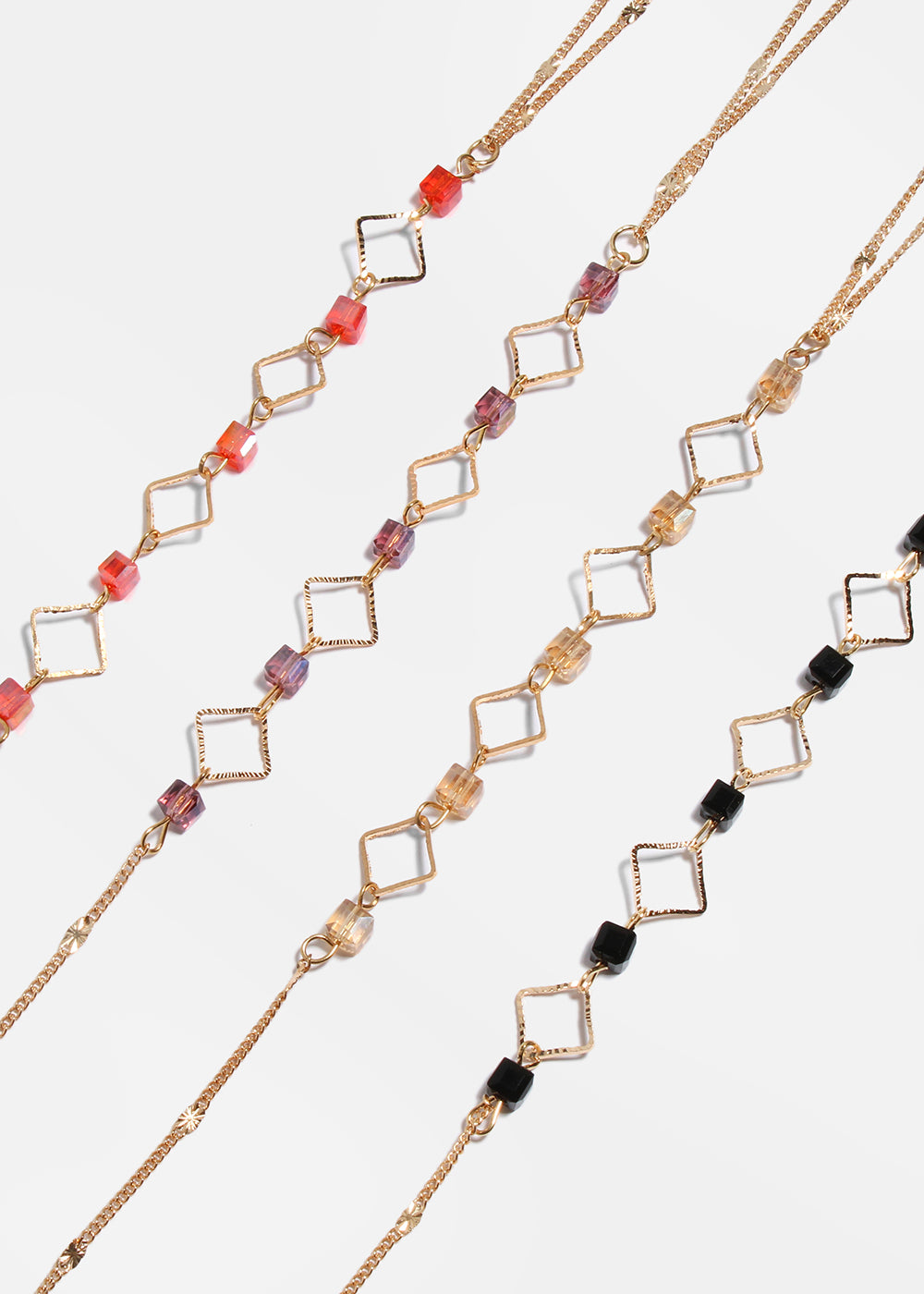Thin Chain Cubed Bead Necklace