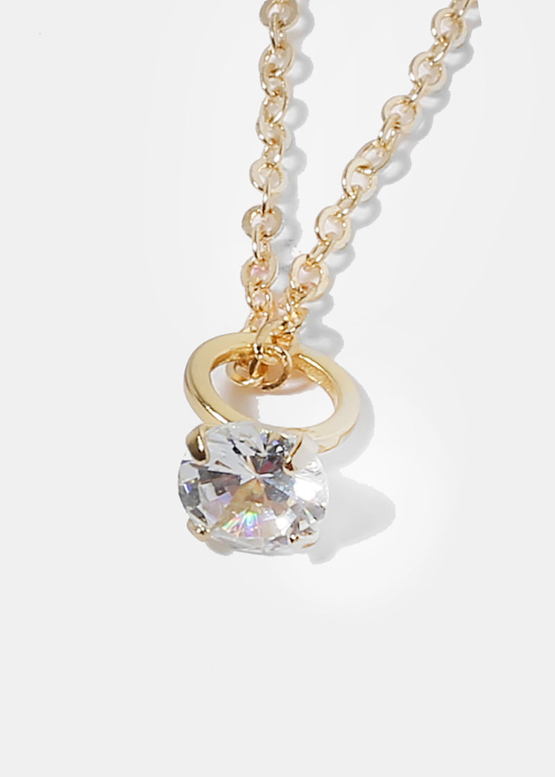 Small Diamond Ring Pendant Necklace