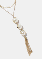 Long Triple Pearl Necklace