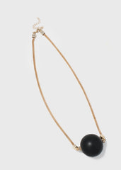 Wooden Ball Mesh Chain Necklace