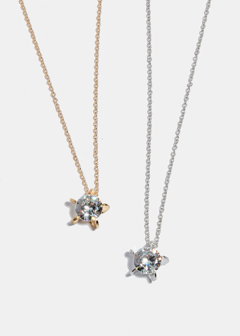 Large Solitaire Gemstone Star Necklace
