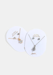 Heart & Solitaire Gem Necklace Set