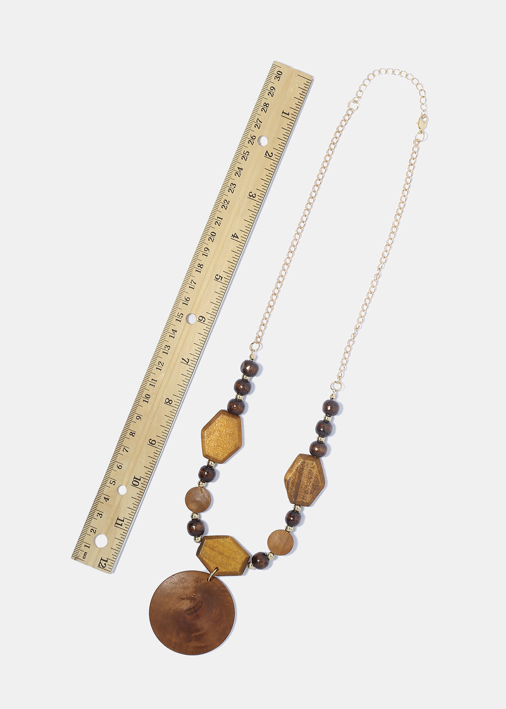 Wooden Geo Bead Necklace