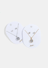 Round Solitaire Gem Necklace Set