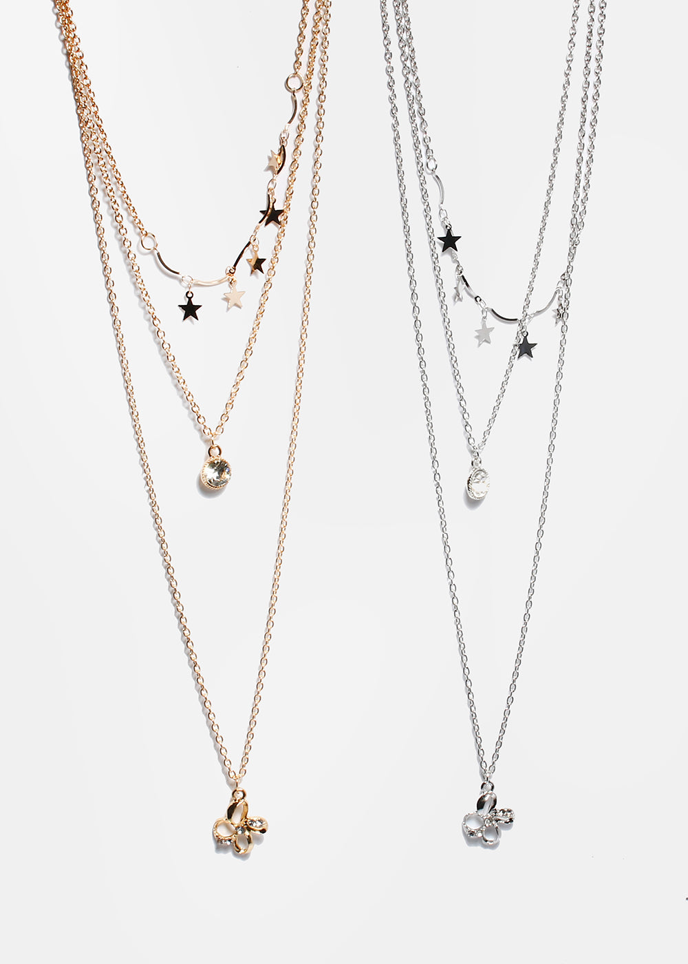 Star & Flower Layered Chain Necklace