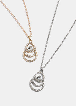 Linked Rhinestone Circle Pendant Necklace