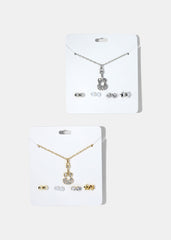 Guitar Pendant Necklace & Earring Set