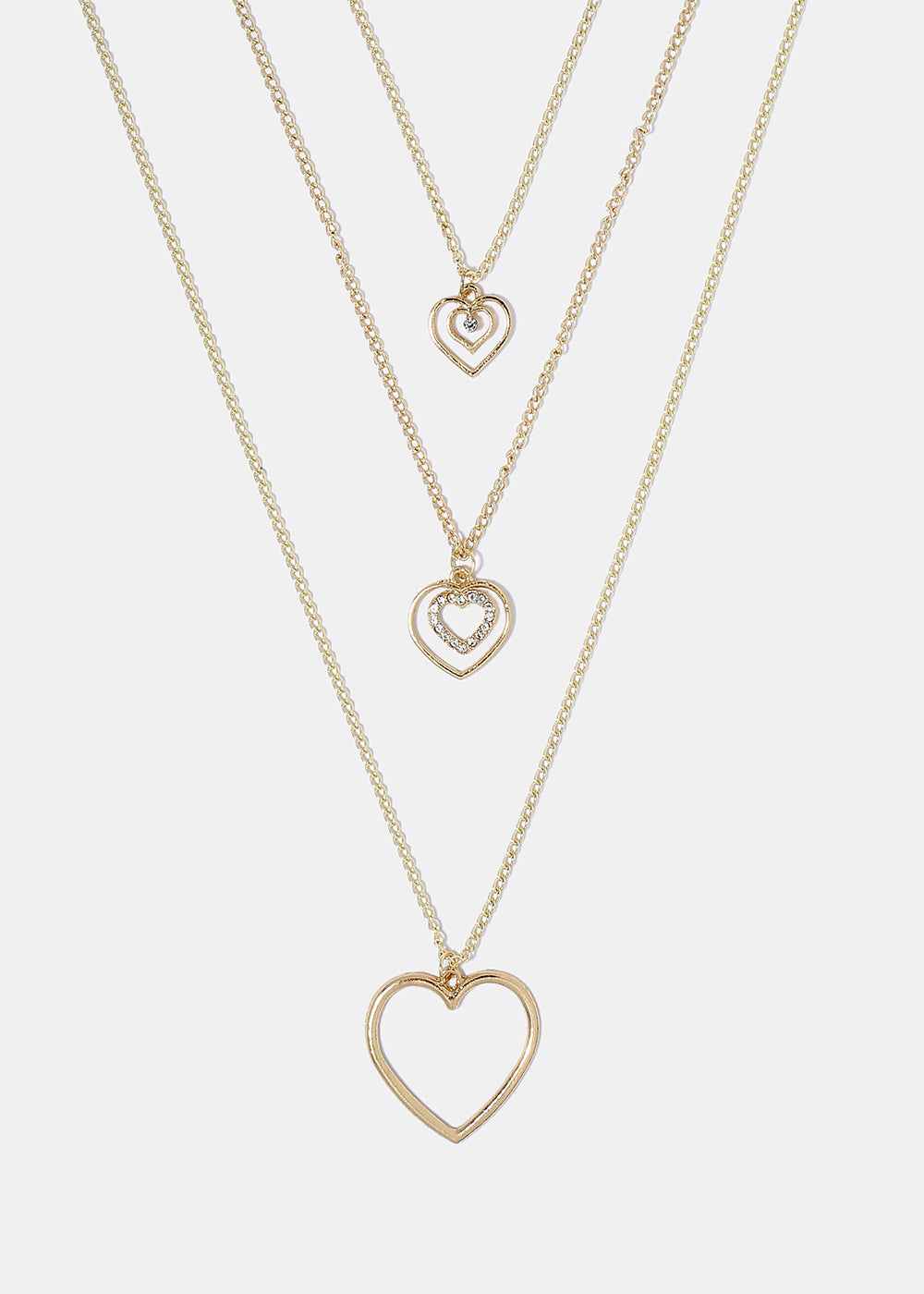 Layered Triple Heart Pendant Necklace