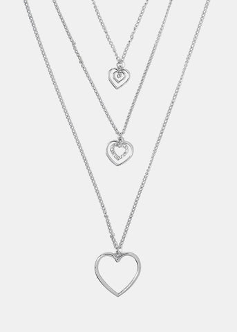 Necklaces shop miss a layered triple heart pendant necklace aloadofball Image collections