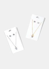 Bow Gemstone Pendant Necklace Set