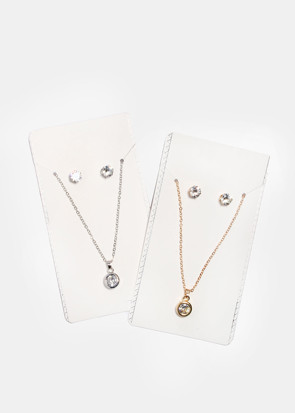 Solitaire Gem Pendant Necklace Set