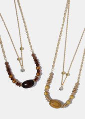 Wooden Bead & Gem Layered Necklace