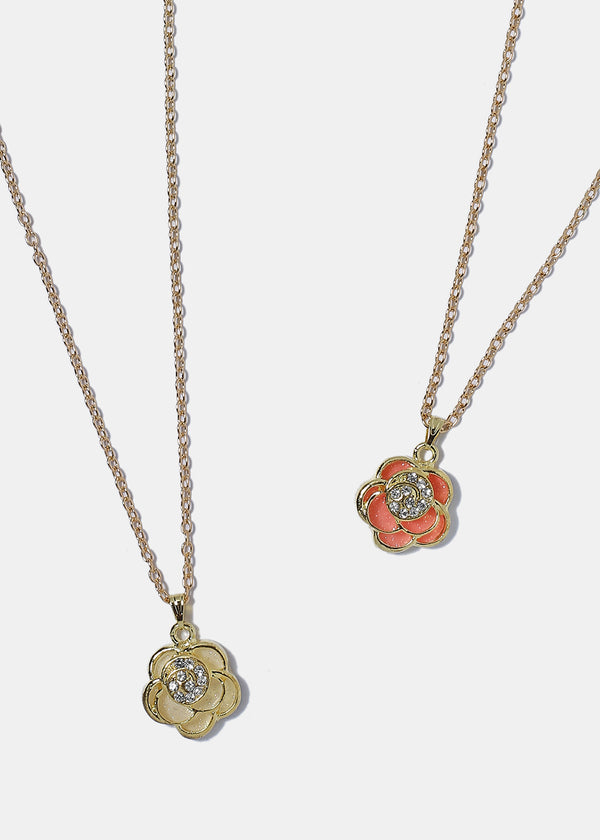 Enamel Flower Pendant Necklace