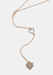 Rhinestone Heart Y-Line Chain Necklace