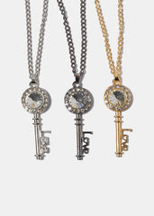 Gemstone Love Key Necklace