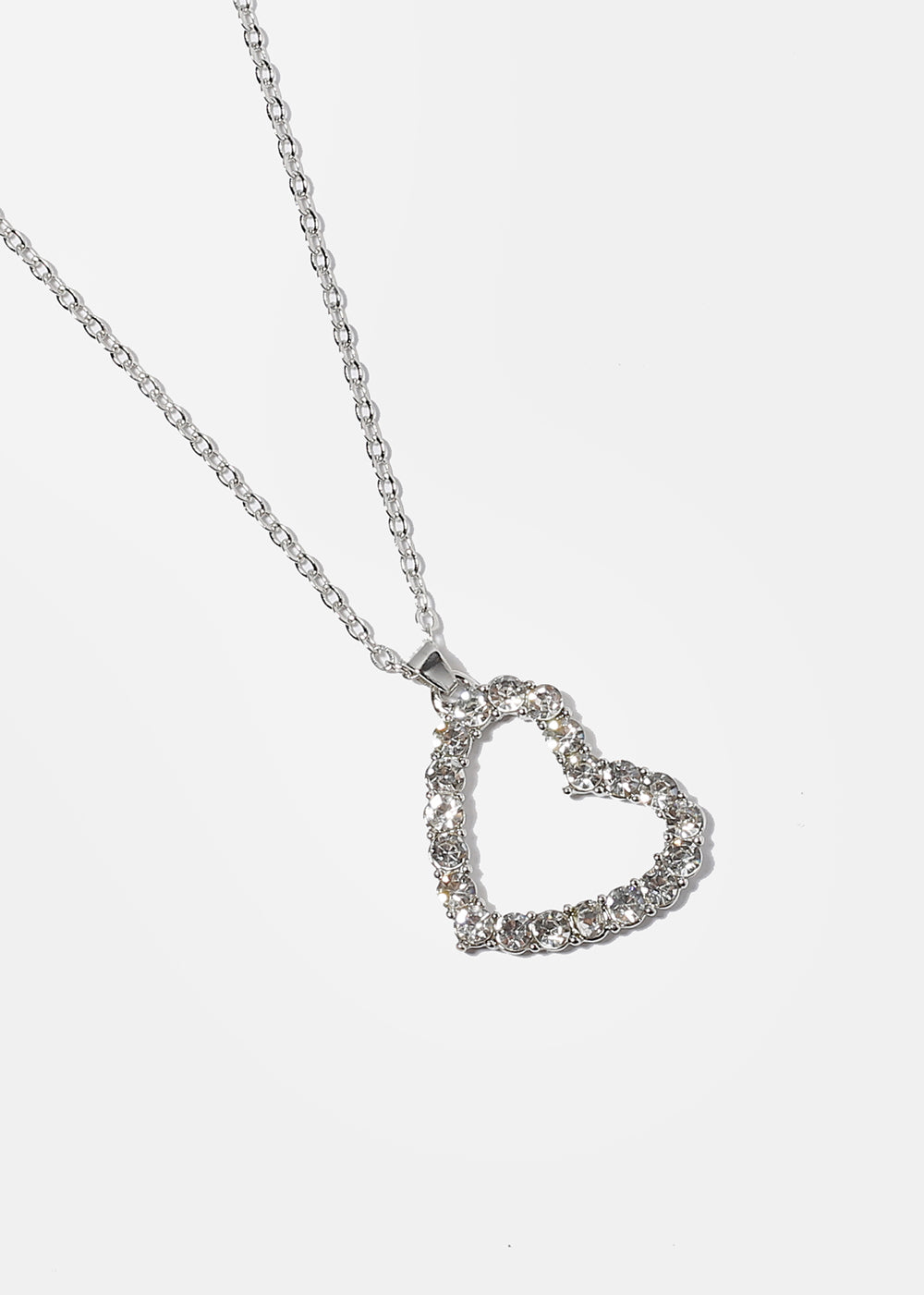 Rhinestone Heart Pendant Necklace