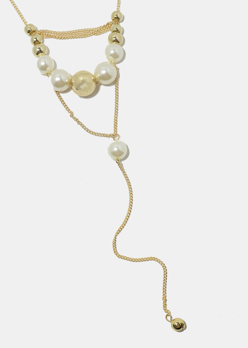Layered Pearl & Metal Ball Necklace