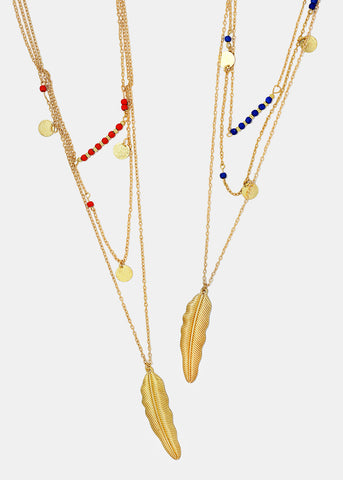 Layered Feather & Bead Necklace