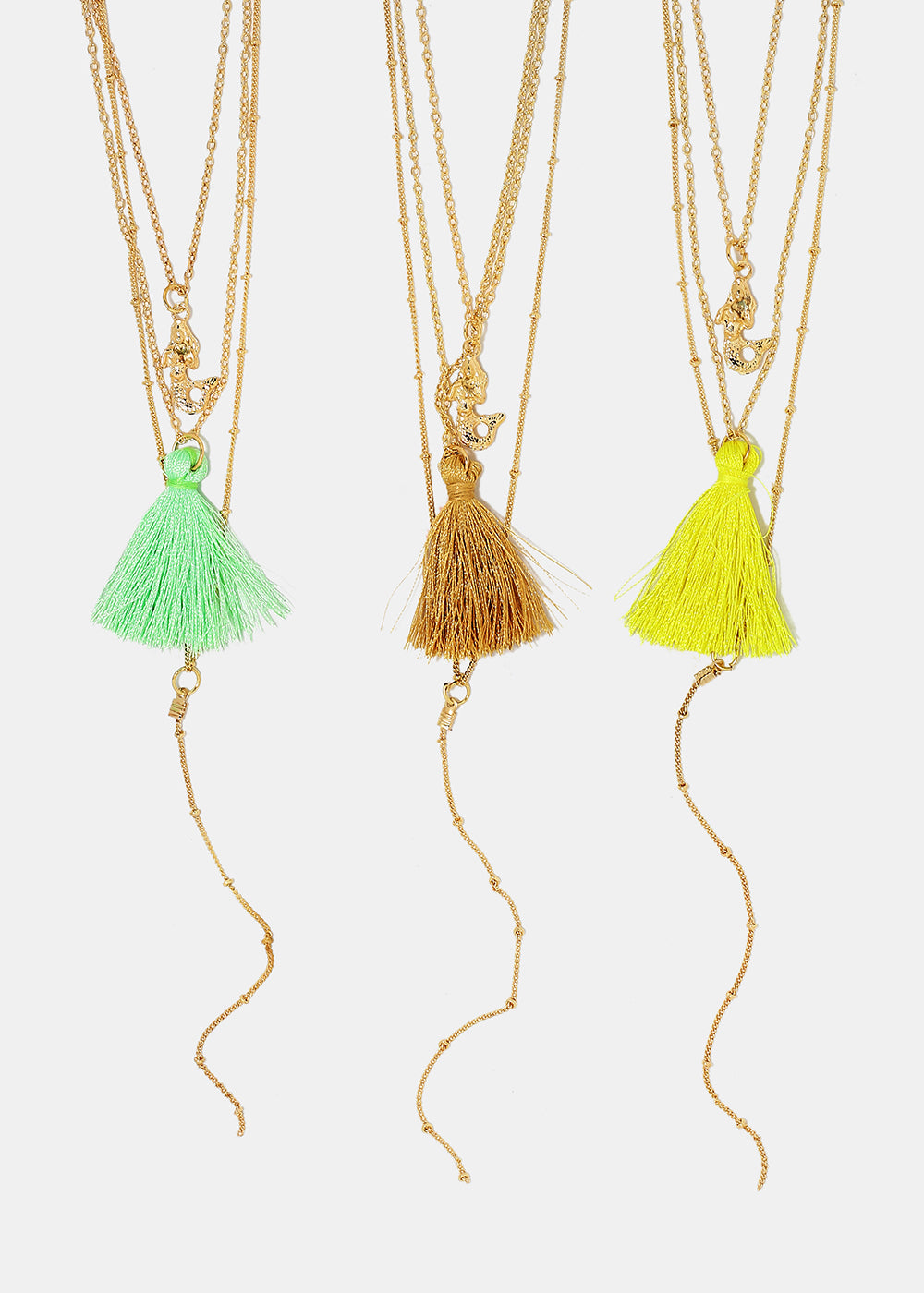 Layered Tassel & Mermaid Charm Necklace