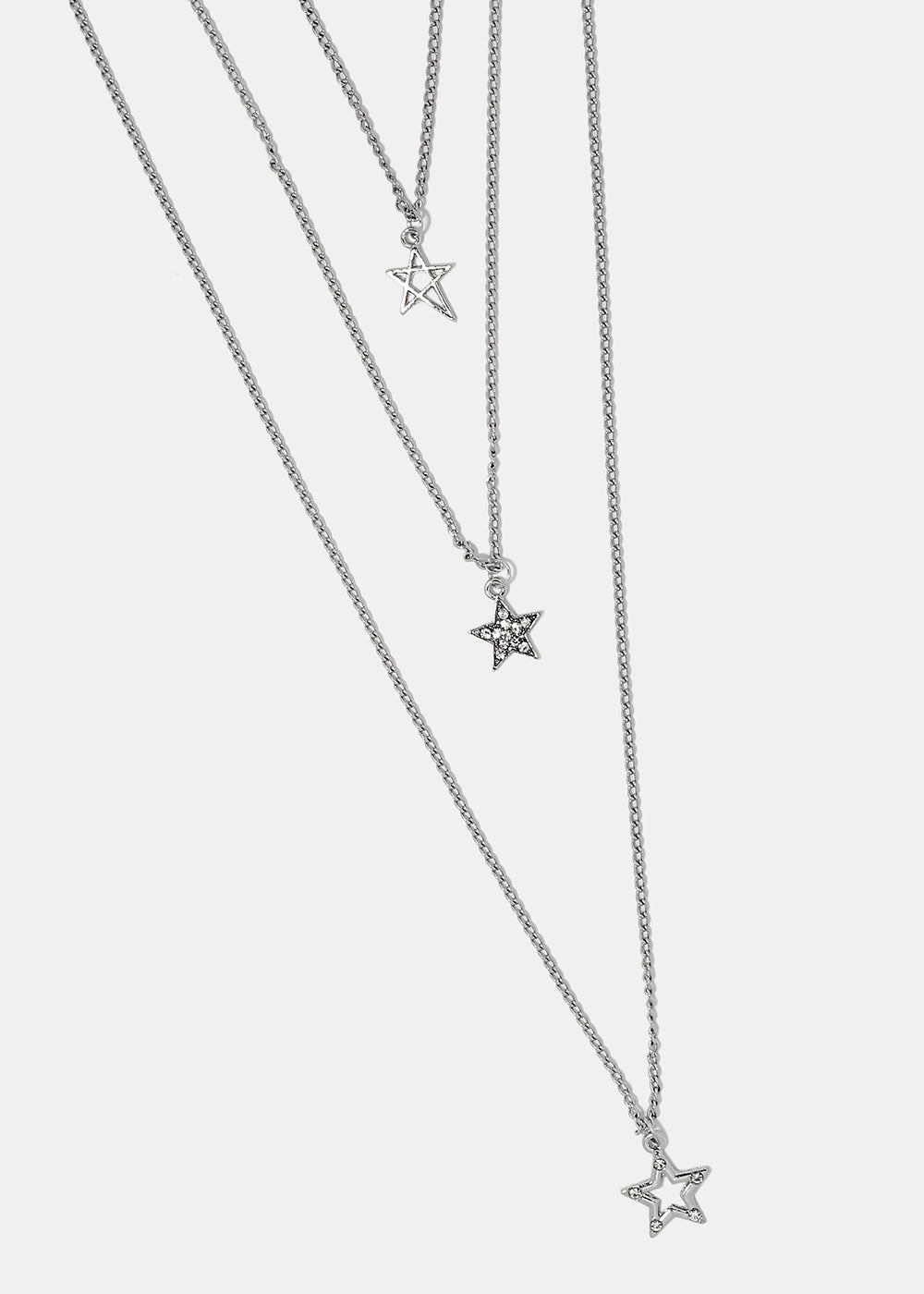 Layered triple star pendant necklace shop miss a layered triple star pendant necklace aloadofball Images