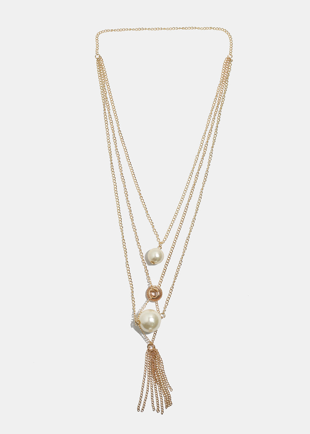 Layered Pearl & Bead Chain Tassel Necklace