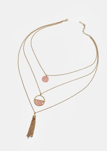 Layered Marble Circle & Tassel Necklace