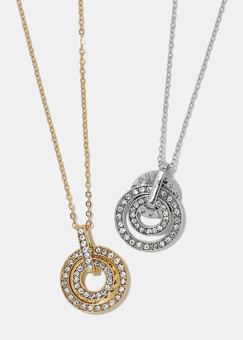 Triple Rhinestone Circle Necklace