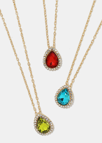Tear Drop Gemstone Pendant Necklace