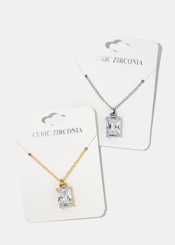 Clear Square Gemstone Necklace
