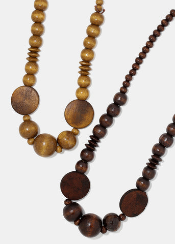 Wooden Bead & Disc Necklace