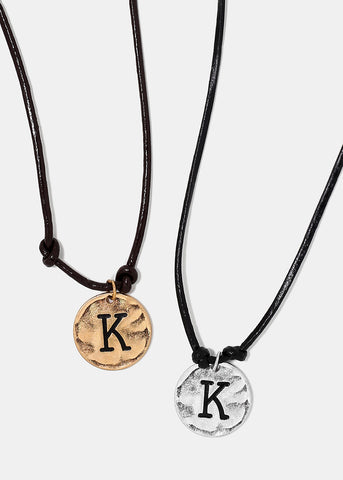 "Faux Leather ""K"" Initial Necklace"
