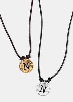 "Faux Leather ""N"" Initial Necklace"