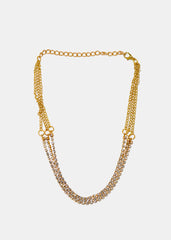 Layered Rhinestone Chain Necklace
