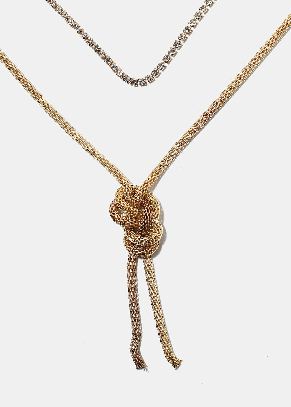 Layered Mesh Chain Knot Necklace