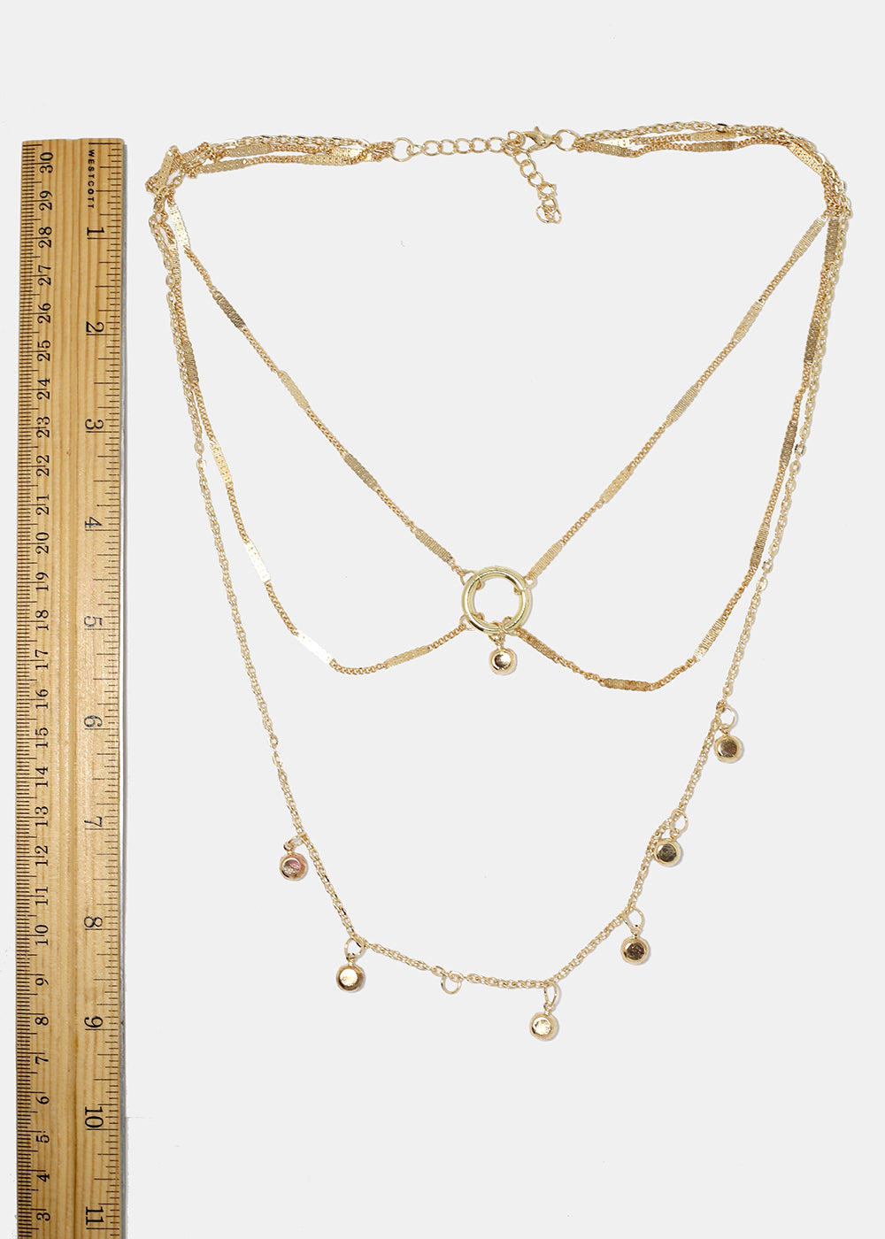 Layered Chain Metal Bead Necklace