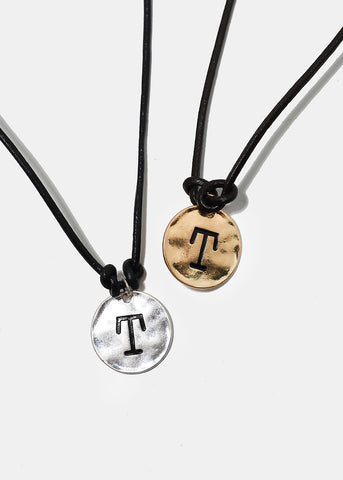 "Faux Leather ""T"" Initial Necklace"