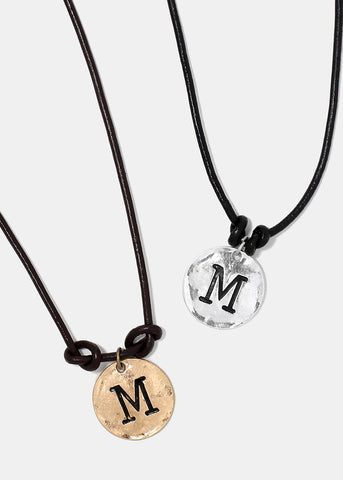 "Faux Leather ""M"" Initial Necklace"