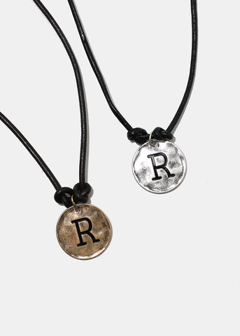 "Faux Leather ""R"" Initial Necklace"