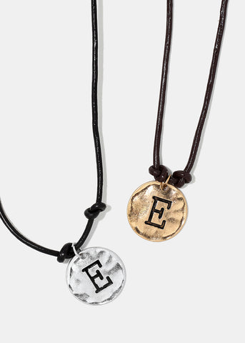 "Faux Leather ""E"" Initial Necklace"