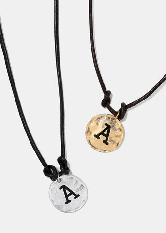 "Faux Leather ""A"" Initial Necklace"